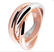Edelstahl Ringe 3 er Ringe bicolor rosegold silber Damen dreier Ring Frauen Neu