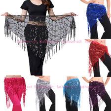 2019 Belly Dance Sequin Hip Scarf Belt Sexy Net Tassel Fringe Wrap Skirt