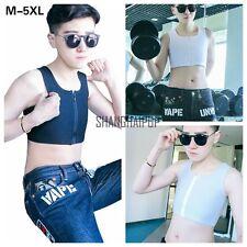 Lesbian Zip Breast Chest Binder FTM Crop Vest Tomboy Tank Top Bandage Les M-5XL
