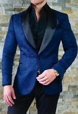 Men's Navy Blue Jacket Vest Jacquard Paisley Tuxedos Groom Prom Wedding Suit