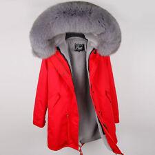 Luxury Real Large Fox Fur Collar Hooded Women Coat Winter Warm Parka Lady Jacket
