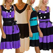 Trägerkleid Sommerkleid Strandkleid knielang breite Träger Streifen Look  36/38