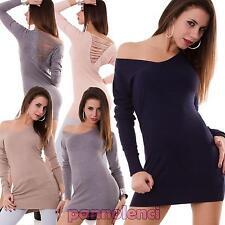 Miniabito donna maxipull schiena stringhe strass nuovo maniche lunghe nuovo 3595