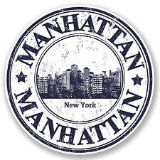 2 x Manhattan New York Vinyl Sticker iPad Laptop Car Luggage Travel Tag #4772