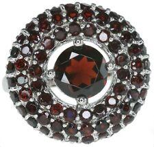 Garnet Gemstone Round Cluster 21mm Sterling Silver Ring