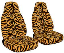 2 Front Orange Zebra Seat Covers Universal Size