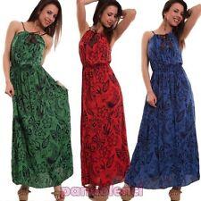 Robe femme long costume motif à fleurs feuilles bretelles cuir écologique