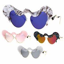 Runway Trend Mirror Lace Visor Cat Eye Retro Fashion Sunglasses
