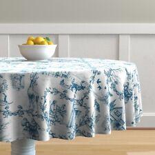Round Tablecloth Blue Winter Toile Woodland Fox Deer Elk De Jouy Cotton Sateen