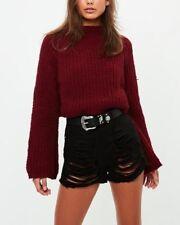 MISSGUIDED black high waisted shredded denim shorts Fashion Ladies (M6/17)