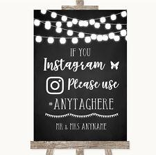 Wedding Sign Chalk Style Black & White Lights Instagram Social Media Hashtag