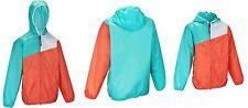 QUACHUA Regenjacke Jacke Rainjacket Raincoat Tricolore, türkis/hellrot/weiß