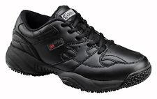 Skidbuster Mens Slip Resistant Athletic M Black Action Leather Shoes