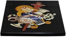 Black Marble Coffee Outdoor Table Tops Pietradura Inlaid Mosaic Home Decor H2984
