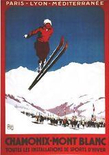 Vintage Chamonix Mont Blanc cartel de deportes de invierno A3/A2/A1 impresión