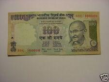 - INDIA  PAPER MONEY - RS.100/- MAHATMA  GANDHI - FANCY NO. :NO:8SC 100000 #E14