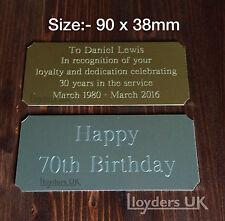 Engraved Trophy Plaque, 90 x 38mm, Trophy Plate Award, Label Photo Frame