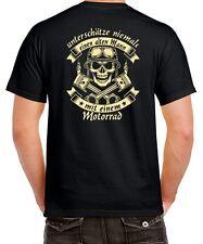 Biker T-Shirt ALTER MANN MIT MOTORRAD Spruch Opa Vater Totenkopf HINTEN bedruckt