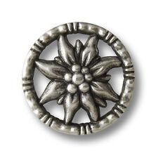 5 bezaubernde altsilberfarb. Edelweiß Ösen Metallknöpfe mit Durchbruch (1370as)