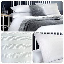 Serene SEERSUCKER White - Easy Care Duvet Cover / Bedding Set