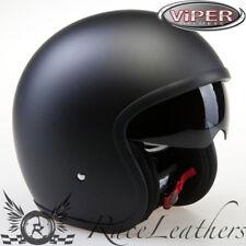 VIPER RSV06 Motocicletta Nero Opaco Cruiser Scooter Casco A VISO APERTO