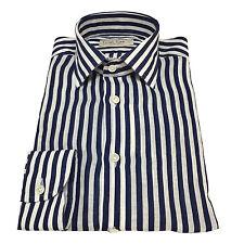 ICON LAB 1961 camisa hombre blanco/azul REregular ceñido 100% lino