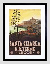 TRAVEL SANTA CESAREA BATHS LECCE ITALY VINTAGE BLACK FRAMED ART PRINT B12X065