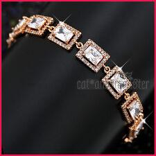 9CT ROSE GOLD GF ANTIQUE PRINCESS CUT SQUARE LAB DIAMOND WEDDING BANGLE BRACELET
