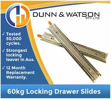 60kg Locking Drawer Slides / Runners - Lengths 300mm to 800mm Draw Trailer