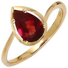 Ring Damenring mit Granat dunkelrot 585 Gold Gelbgold Fingerschmuck Goldring