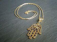 "Hamsa Hand Gold Chain Necklace Hand of God Protection Symbol 14""-24"" UK"