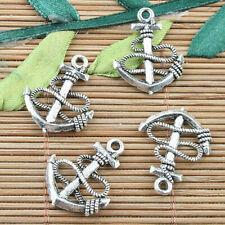 100pcs Alloy metal Tibetan Silver color  anchor  design charms  F15483