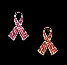 CRYSTAL RED RIBBON BOW AIDS HIV AWARENESS BROOCH PIN SILVER GOLD TONE