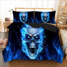 Skull Quilt/Doona/Duvet Cover Set Single Queen King Size Bed Pillow Cases Linen