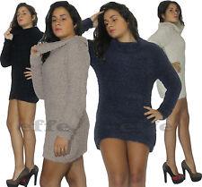 Maglione donna maglia maxipull pullover lana mini abito collo alto nuovo