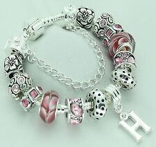 Girls PERSONALISED Jewellery Pink Silver Charm Bead Bracelet BIRTHDAY Gifts