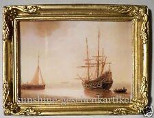 1:12- Bild mit alten Schiffen- in feinem Goldrahmen