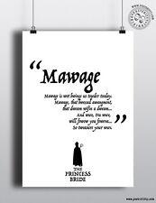 La Princesa Novia-mawage Minimalista Movie Poster mínima posteritty Ltd Ed
