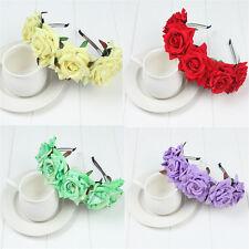 Girls Women Rose Floral Garland Crown Flower Headband Hair Band Bridal Wreath