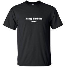 Happy Birthday Jesus - Christmas T-Shirt Adult Black White Custom