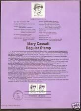 #2181 MARY CASSATT 1988 Official Souvenir Page