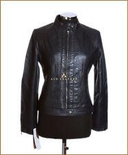 Mila Dark Blue Ladies Biker Style Designer Retro Real Lambskin Leather Jacket