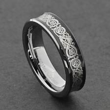 6mm Tungsten Brush Center Dragon Celtic Scroll Unisex Wedding Ring Band