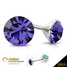 Stellux™ Austrian Crystal Ear Stud Earring Purple Violet 3mm 1 Pair ees180