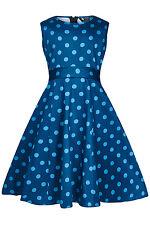 LITTLE LADY VINTAGE KIDS/CHILDRENS COTTON NIAGRA BLUE POLKA PARTY DRESS BNWT