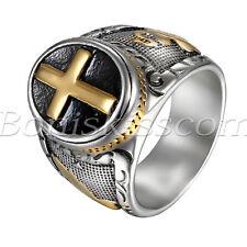 Men's Vintage Stainless Steel Christian Holy Cross Prayer Ring Band Size 8-14