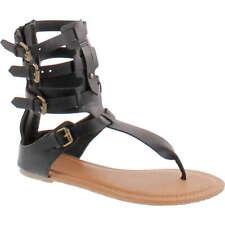Wild Diva TANAYA-540 Women's T-strap Buckle Gladiator Back Zip Flat Thong Sandal