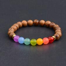 7 Chakras Healing Bracelet Mala Reiki Energy Women Man Wooden Bracelets Gift