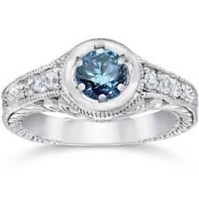 5/8ct Art Deco Treated Blue Diamond Vintage Engagement Ring 14K White Gold