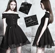 Robe évasée gothique lolita soirée épaule nue dentelle volants corset PunkRave